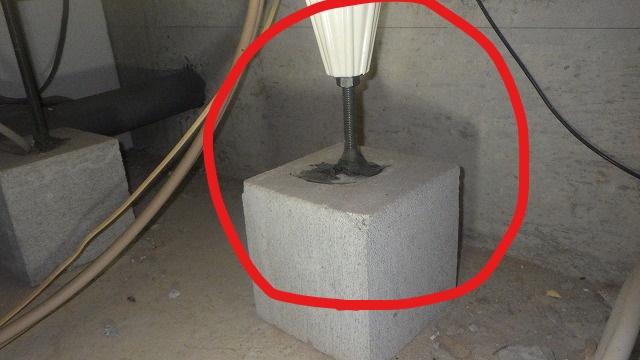 クラシオ 施工実績 ユニットバス用束石のズレ簡易補修(アフター写真)