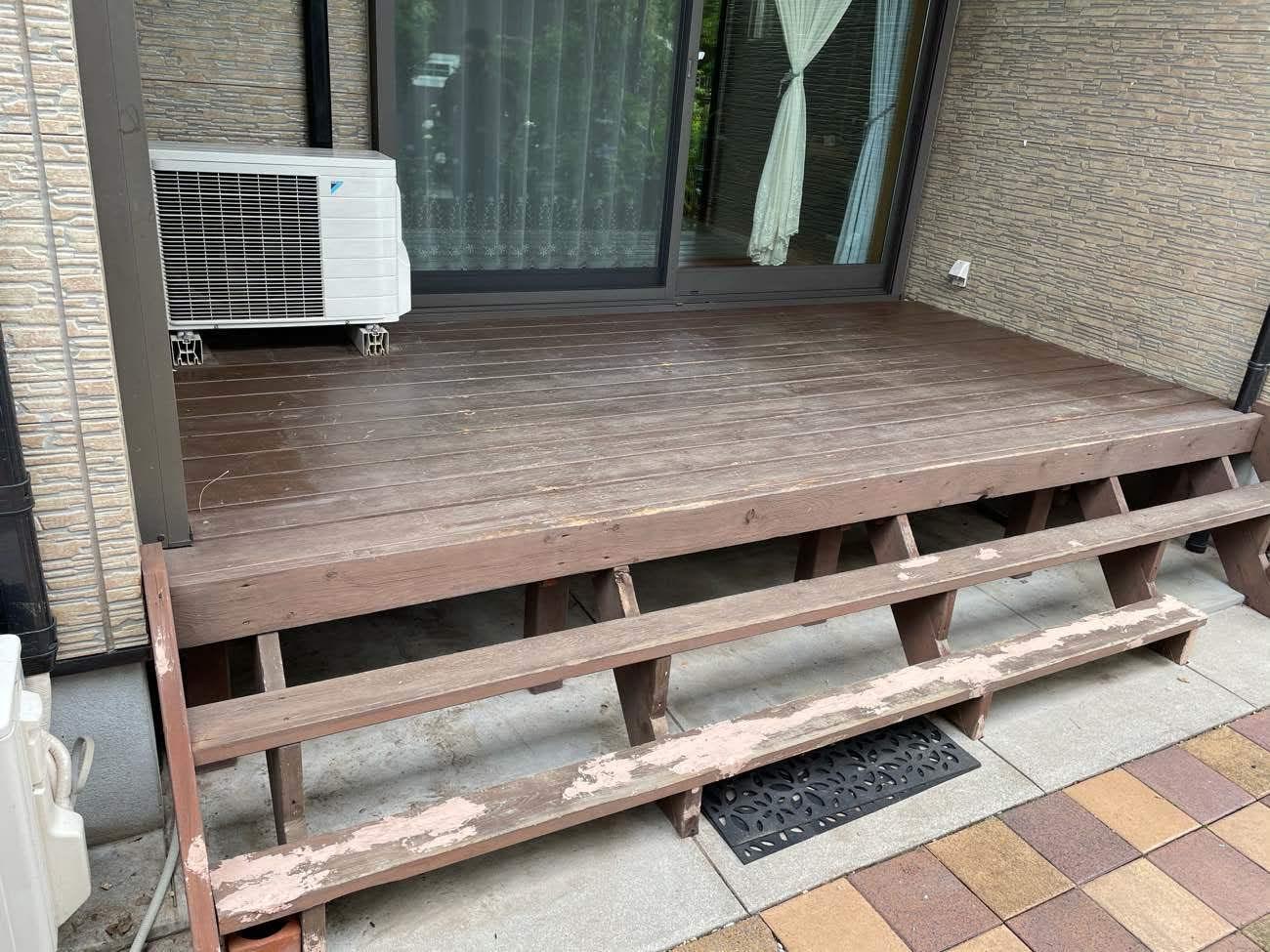 クラシオ 施工実績 ウッドデッキ塗装・シロアリ予防工事(ビフォー写真)