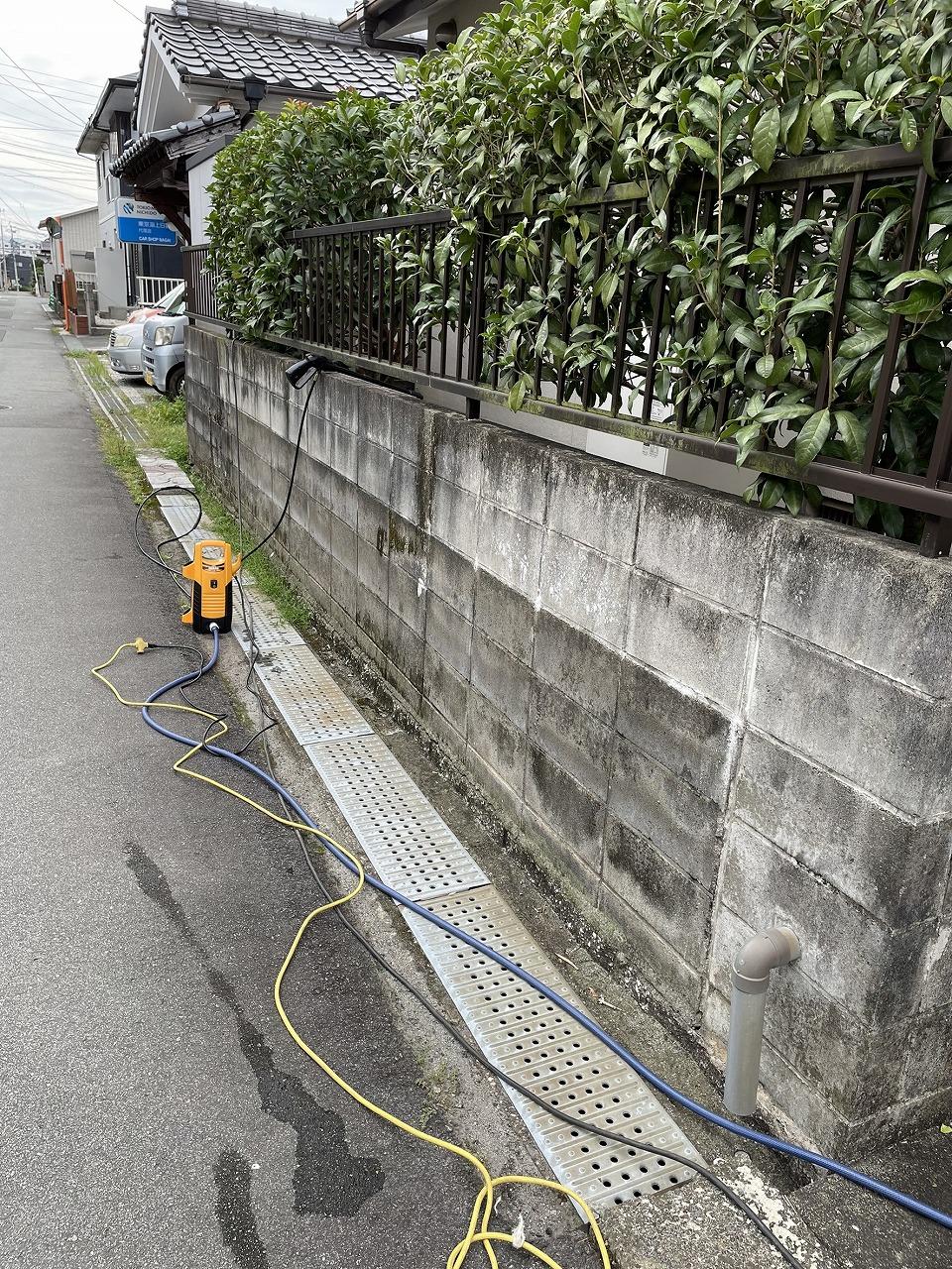 クラシオ 施工実績 熊本市北区M様/ブロック塀洗浄・塗装工事(ビフォー写真)